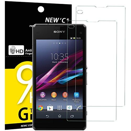 NEW'C 2 Unidades, Protector de Pantalla para Sony Xperia Z1 Compact, Mini, Antiarañazos, Antihuellas, Sin Burbujas, Dureza 9H, 0.33 mm Ultra Transparente, Vidrio Templado Ultra Resistente