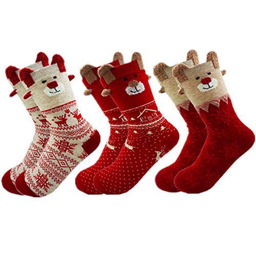 3 Pairs Christmas Socks Ladies Winter Warm Girls...