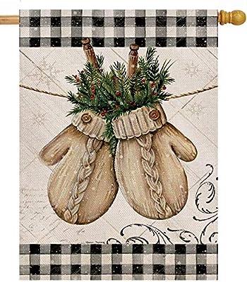 Hzppyz Winter Gloves Home Decorative House Flag Buffalo Plaid Check Farmhouse Garden Yard Outdoor Large Burlap Flag Sign Christmas Outside Decoration Xmas Seasonal Decor Double Sided Black White 28x40