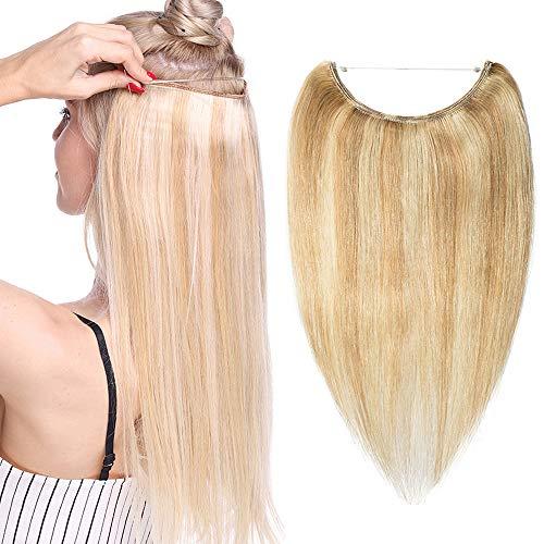 Echthaar Extensions mit Unsichtbarem Draht Haarverlängerung keine Clips Glatt Haarteil Günstig Human Hair 40cm 60 Gramm Graublond & Bleichblond