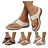 Dasongff Sandalias de tacón de cuña, romanas, planas, para verano, playa, ocio, vacaciones, verano, tanga, transpirables, gruesas, para exteriores