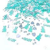 JZK 4 x Packungen blau Streudeko Konfetti Tischdeko Confetti Mitgebsel Geschenk für Junge Geburtstag Taufe Babyparty, Baby + Kaninchen + Herz + Stern