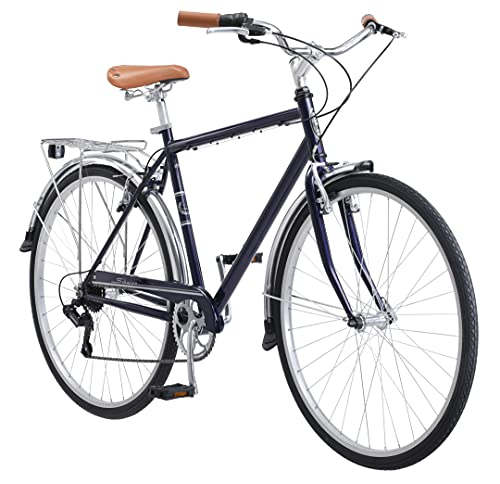 Schwinn Wayfarer Adult Bike Hybrid Retro-Styled Cruiser, 18-Inch/Medium Steel Step-Over Frame, 7-Speed Drivetrain, Rear Rack, 700C Wheels, Blue