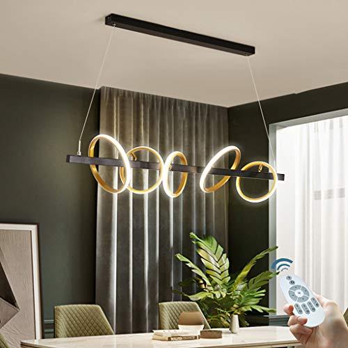 Hängelampe Dimmbar LED Pendelleuchte Esstisch Silikon Mit Fernbedienung Hängeleuchte Höhenverstellbar Gold Pendellampe Mit Drehbaren Ringen Moderne Wohnzimmer Schlafzimmer Kronleuchter,5 rings/54w