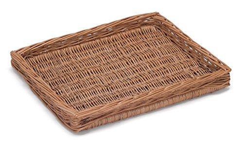 Prestige Wicker Willow Shallow Tray, Natural, 43x35x5 cm