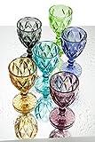 Brandani 54112Set 6 Calici Diamante colori assortiti vetro