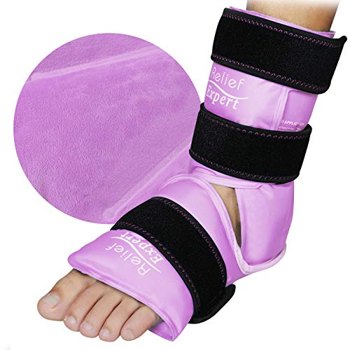 Relief Expert Ankle Foot Ice Pack Wrap for Injuries Reusable Gel Cold Pack with Cold Compression Therapy, Instant Pain Relief for Achilles Tendonitis, Plantar Fasciitis, Heel - Soft Plush Lining Pink