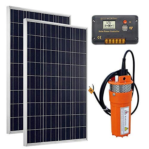 DC HOUSE Solar Water Pump Kit, 24V Submersible Pump + 2pc 100W Solar Panel + 20A Charge Controller for Deep Well Watering