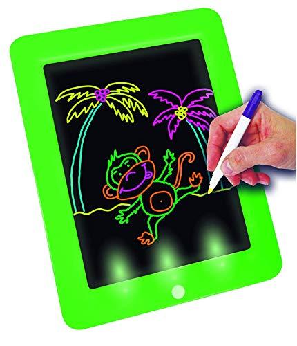 Fantastic Magic Pad | Zeichenbrett | 6 Farbstifte mit 12 Neonfarben | 60 Schablonen zum Ausmalen, Zeichnen, Schreiben & Rechnen | Schreibplatte | Maltafel | Das Original aus dem TV
