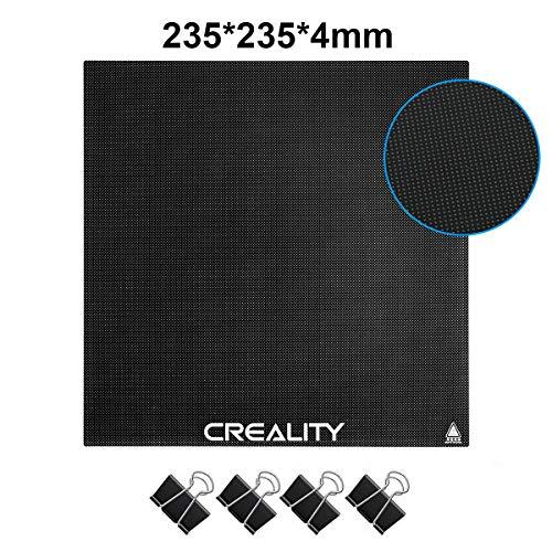 Creality Aufgerüstetes Glasbett 3D-Druckerplattform Heißbeheiztes Bett mit 4 Clips für Ender 3/Ender 3 pro/Ender 5 3D-Drucker 235x235x4mm
