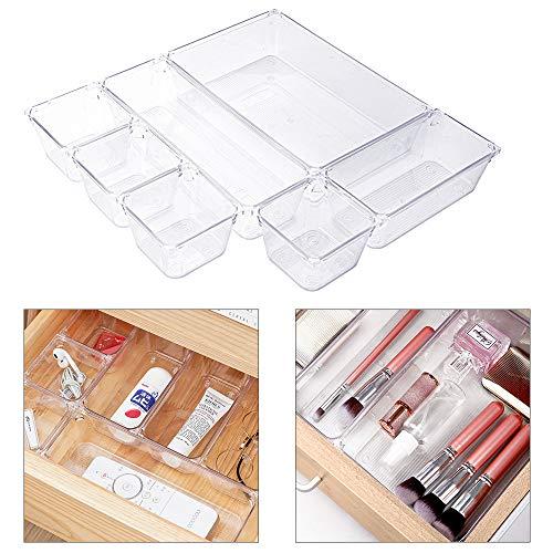 GuKKK Organizzatori per Cassetti, Organizzatore Componibile 7 Vani, Organizer Cosmetici Facile, per Ufficio, Cucina, Bagno e Armadio, Make Up Cassetti(Trasparente)