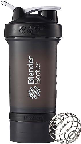 BlenderBottle C00644 ProStak System with 22-Ounce Bottle and Twist n' Lock Storage, Black/Black