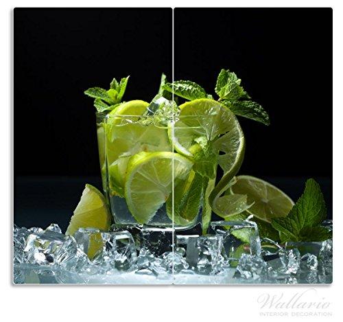 Wallario Herdabdeckplatte/Spritzschutz aus Glas, 2-teilig, 60x52cm, für Ceran- und Induktionsherde, Mojito - Cocktail mit Limetten, EIS und Minze