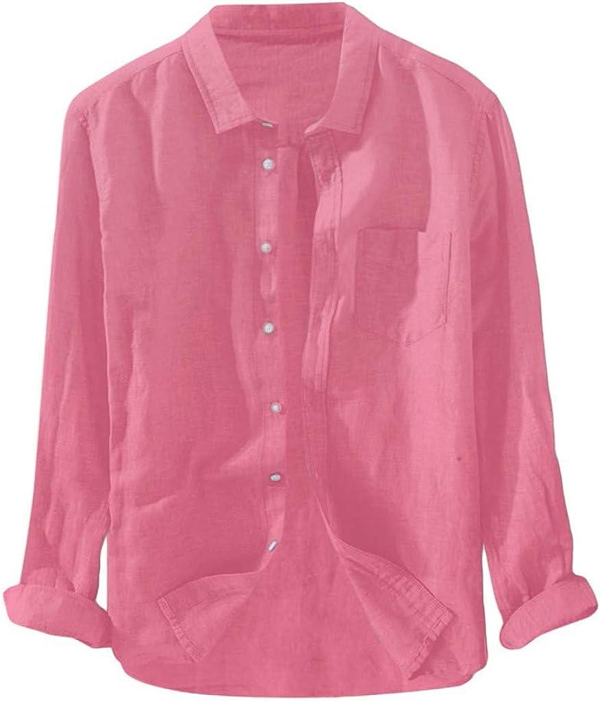 VEKDONE Mens Long Sleeve Linen Shirts Casual Button Up Loose Fit Beach Summer Fall Shirts Tops