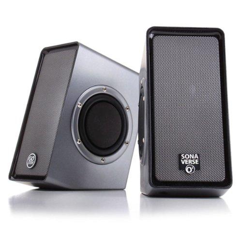 GOgroove SonaVERSE O2 PC-Computer USB-Powered Lautsprecher mit 3,5-mm-AUX-Eingang, 2,0-Kanal-Dual-Passiv-Bass-Tieftöner, integrierter Lautstärkeregler, Kompaktes Design - Schwarz