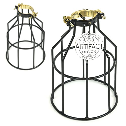 Rustic State Set of 2 Industrial Vintage Style | DIY Farmhouse Metal Wire Cage for Hanging Pendant Lighting | Light Fixture Lamp Guard Black
