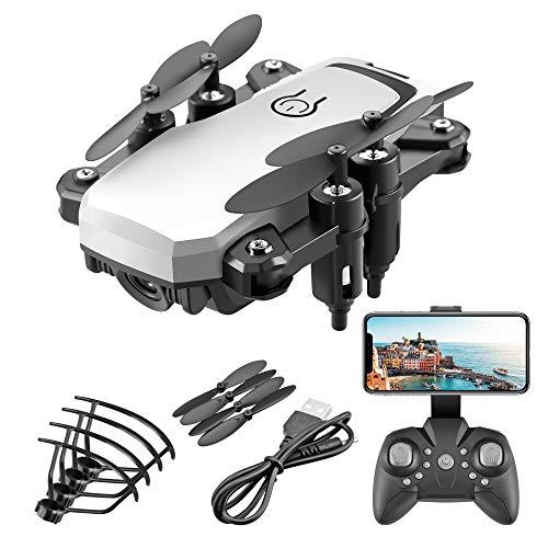 DEAR-JY Mini Drones,Drone Quadricottero Pieghevole Portatile della Macchina Fotografica HD,Drone RC FPV WiFi A Una Chiave di Ritorno,per Regalo per attività All'aperto per Bambini,Bianca,5.0MP