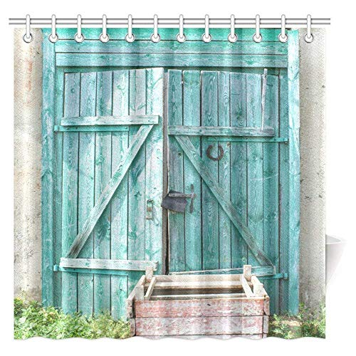 """Big buy store Shower Curtain Vintage Decor, Rustic Old Green Wood Barn Door in Farmhouse Countryside Village Aged Rural Life ,Waterproof Fabric Bathroom Decor Set with Hooks(48"""" x 72"""")"""