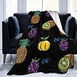 Kiwi Pear Pineapple Grape Fruit Blueberry - Couverture en Flanelle Couverture Chaude en Flanelle à Lancer Chaud et Confortable 50 'x40'