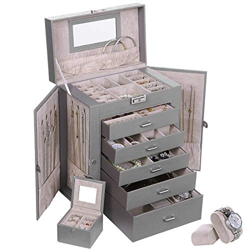 ANWBROAD 6 Tier Huge Jewelry Box Jewelry Organizer Box Display Storage Case Holder with Lock Mirror Girls Jewelry Box for Earrings Rings Necklaces Bracelets Earrings Gift Grey Faux Leather UJJB004H