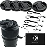 58mm Lens Cap Bundle - 4 Snap-on Lens Caps for DSLR Cameras - 4 Lens Cap Keepers - Microfi...