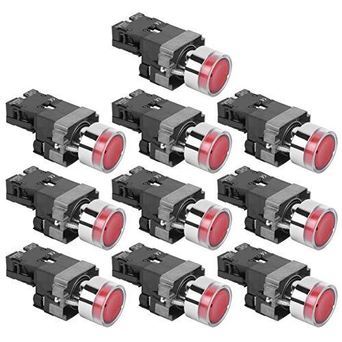 Interruptor de botón NC BEM ‑ XB2‑01DN Plano Resistencia a Altas temperaturas con restablecimiento automático para Uso Industrial(24V)