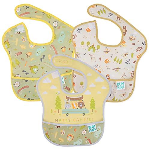 Bumkins SuperBib, babero para bebé, impermeable, lavable, resistente a las manchas y olores, 6 – 24 meses, paquete de 3 – Happy Campers