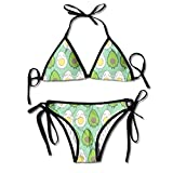 KL Decor Bikini Set,Avocado und Ei Cute Kawaii Juniors Sexy Tanga Weich Gepolsterter Bikini Set...