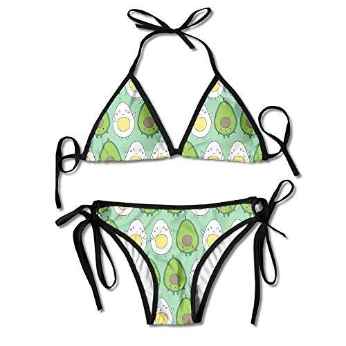 Bikinis,Aguacate y Huevo Cute Kawaii Juniors Tanga Sexy Bikini Acolchado Suave Conjunto de Trajes de baño de Dos Piezas