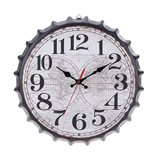 Wanduhr Wanduhr - 14 Inches Vintage Style Creative Print Stille Antike Uhr-Taktgeber for Haupt Küche Büro Metall Schmiedeeisen Bierdeckel Mode Wanduhr individuelle Dekoration (Color : D)