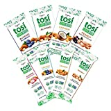 Tosi Organic SuperBites Vegan Snacks, Gluten Free, Omega 3s, Healthy Plant Protein Bars with Flax and Chia Seeds, 8-Flavor Sampler (Variety Pack)