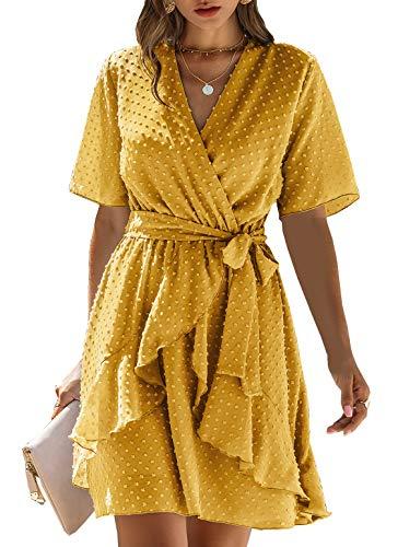 BTFBM Women Fashion Faux Wrap Swiss Dot V-Neck Short Sleeve High Waist A-Line Ruffle Hem Plain Belt Short Dress (Yellow, Small)