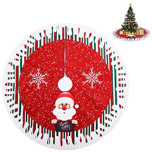 KATELUO Gonna Albero di Natale Rosso, Tappeto Albero di Natale Effetto Neve, Copertura Base Albero Natale, Tappetino Albero di Natale per Casa Vacanza Decorazione per Albero di Natale (80 cm)