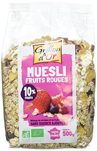 Grillon d'or Muesli Fruits Rouges - Bio - 500 g - Lot de 3