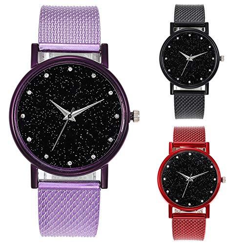 KingbeefLIU Reloj Starry Sky Series Unisex Correa De Malla Dial Redondo Reloj De Pulsera De Cuarzo Analógico Regalo Púrpura