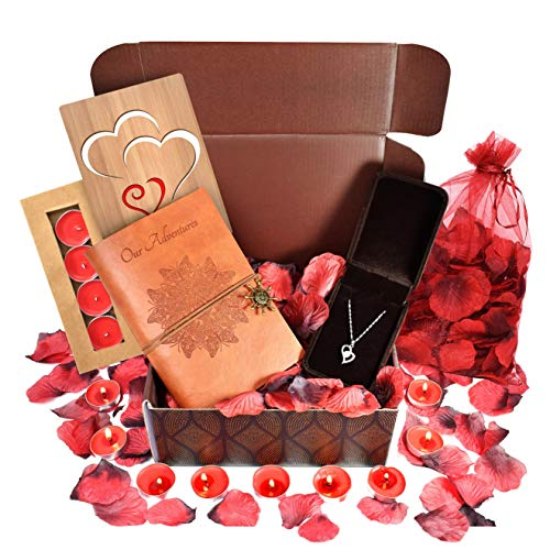 VINAKAS Sterling Silver Necklace Anniversary Gift Bundle For Wife & Girlfriend - Romantic and Thoughtful Jewelry Gifts For Her - Leather Journal, Rose Petals, Candles & Bamboo Love Card