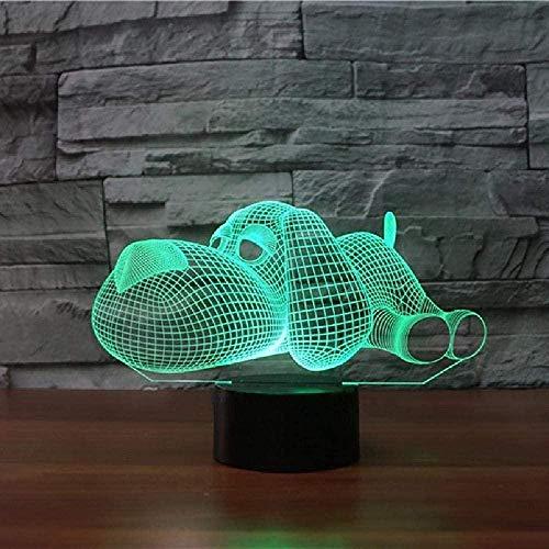 Perro encantador 3D LED noche luz USB animal escritorio lámpara con toque 7 color cambiante sensor luz regalo de Navidad