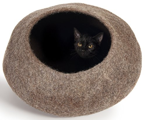 Twin Critters - Handcrafted Cat Cave Bed (Large) I Ecofriendly Cat Cave I Felted from 100% Natural Merino Wool I Handmade Pod for Cats and Kittens I Warm and Cozy cat Bed (Brown Pebble)