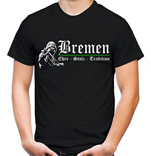Bremen Ehre & Stolz Männer und Herren T-Shirt | Fussball Ultras Geschenk | M1 FB (Schwarz, L)