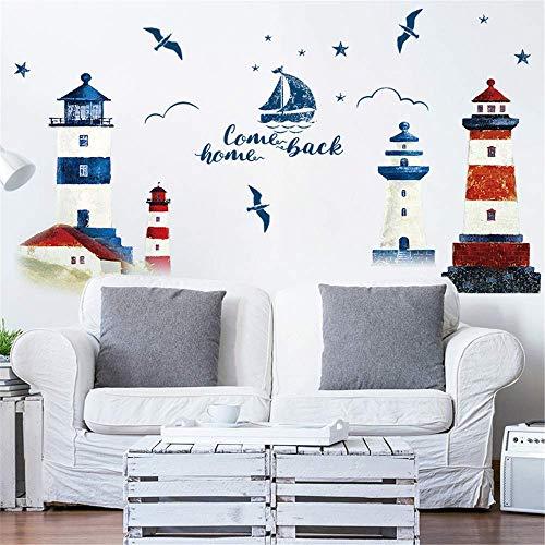 Wandaufkleber Diy Leuchtturm Familie Abnehmbare Boot Vogelhaus Muster Aufkleber Family Home Aufkleber Wandbild Kunst Wohnkultur 90X60