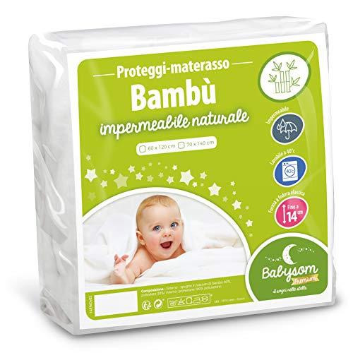 Babysom - Coprimaterasso per Bambino / Proteggi materasso Lettino per Neonato - Bambù Naturale- 60x120 cm - Impermeabile - Traspirante in Fresco Cotone Bianco