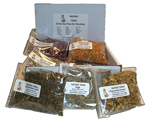 Sacred Tiger 20 Herbal Teas for Smoking Sampler Kit - Variety Pack - Individually Packed - Shipped in a Nice Storage Box