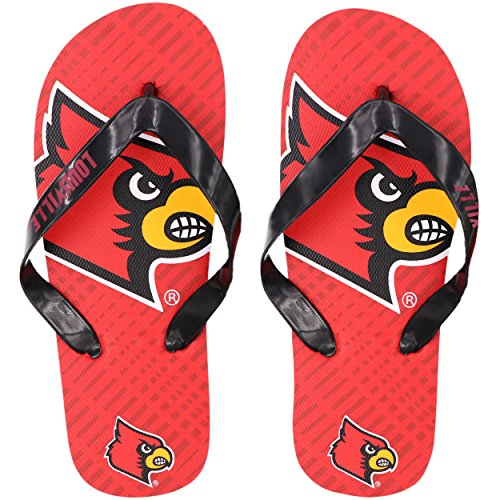 FOCO Louisville Cardinals Flip Flop mit doppeltem Logo – Jugendliche 8–16, Teamfarbe, Einheitsgröße