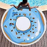 ANYSUNNYDAY Toalla de Playa Redonda Donut Azul Esterilla de Yoga o para Picnic Manta de Playa Chal de Playa 150 cm de diámetro