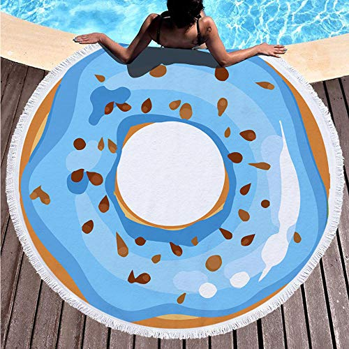 Toalla de Playa Redonda Donut Azul Esterilla de Yoga o para Picnic Manta de Playa Chal de Playa 150 cm de diámetro