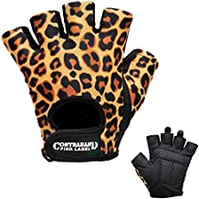 Contraband Pink Label 5297 Womens Design Series Leopard Print Lifting Gloves (Pair) - Lightweight Vegan Medium Padded Microfiber Amara Leather w/Griplock Silicone (Orange/Black, Small)