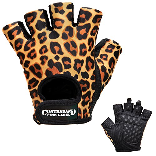 Contraband Pink Label 5297 Womens Design Series Leopard Print Lifting Gloves (Pair) - Lightweight Vegan Medium Padded Microfiber Amara Leather w/Griplock Silicone (Orange/Black, Medium)
