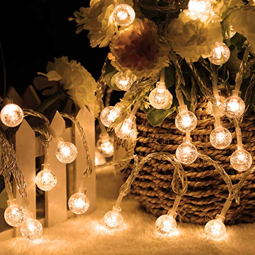 DASDIGUO 100LED Globe String Lights for Bedroom, 43ft 8 Modes Plug in Decorative Lights, Waterproof Fairy String Lights for Patio, Indoor, Outdoor, Christmas, Wedding, Party, Connectable(Warm White)