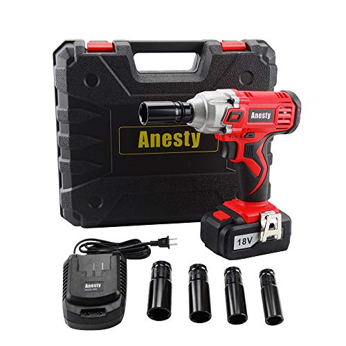 Anesty Impact Wrench 240Nm High Torque Cordless Compact Wrench 18V 3000mAh LithiumIon Power Lug Nuts Impact Wrench 1/2 Inch Drive with 4 Socket and One 1/2quot Square Drive to 1/4quot Hex Adapter