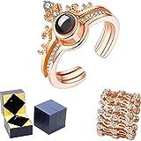 PHLPS Joyería del día de San Valentín Regalo Pulsera de regalo y Puzzle Jewelry Box I Love You Anillo de proyección en 100 idiomas Cubo mágico Caja de almacenamiento de joyería Versátil pulsera ajusta